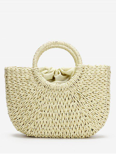 latest Minimalist Straw Tote Bag for Vacation - BEIGE  Mobile