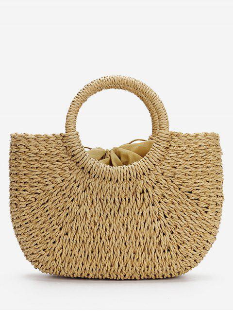 chic Minimalist Straw Tote Bag for Vacation - LIGHT KHAKI  Mobile
