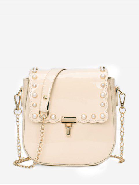 Flap Faux Pearls Chic Cazadora con eslabones de cadena - Blanco Cálido  Mobile