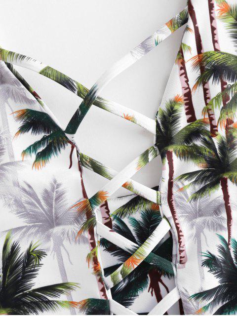 Traje de baño de corte alto de árboles de coco enrejado - Multicolor XL Mobile