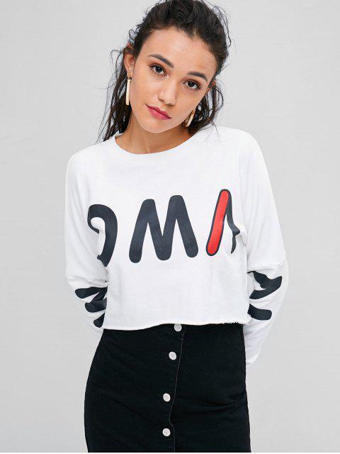 Sweat-shirt Graphique Court - Blanc L Mobile