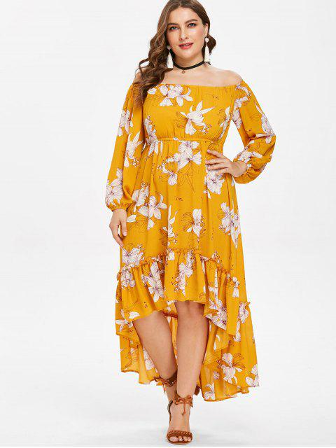 lady Plus Size Off Shoulder High Low Flower Dress - BRIGHT YELLOW 1X Mobile