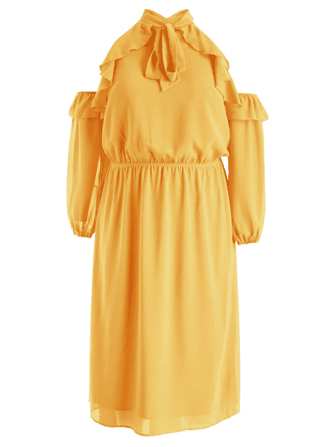 fashion Plus Size Cold Shoulder Ruffled Bow Tie Dress - SCHOOL BUS YELLOW 3X Mobile