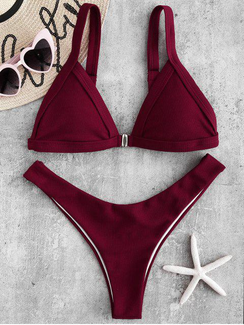 women Front Closure Ribbed High Leg Bikini - RED WINE S Mobile