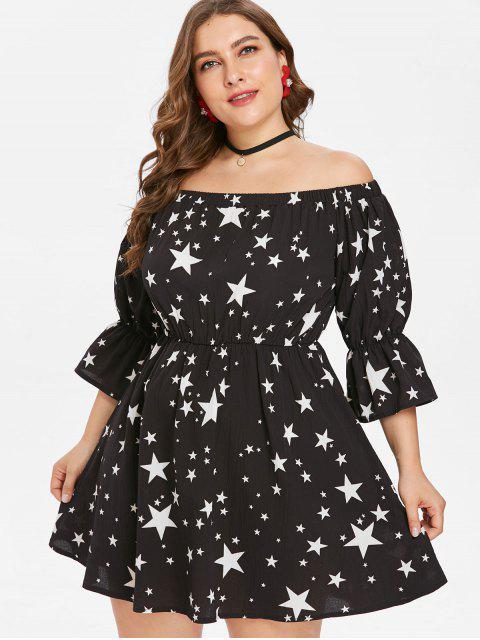 Übergroße Schulterfreies Sterne Druck Kleid - Schwarz 1X Mobile