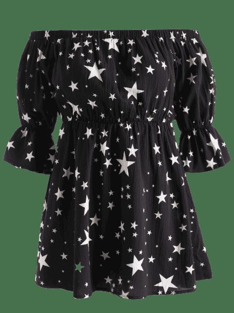 ladies Plus Size Off Shoulder Stars Print Dress - BLACK 3X Mobile