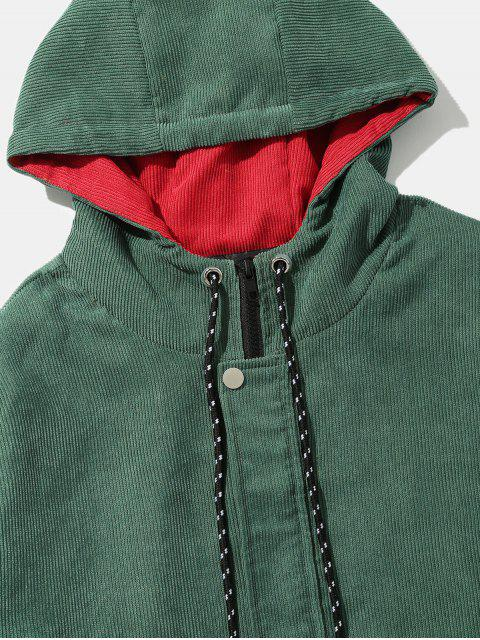 shops Color Block Patchwork Corduroy Hooded Jacket - BEETLE GREEN L Mobile