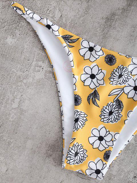 Bikini A Fascia Floreale A Coste - Bianca L Mobile