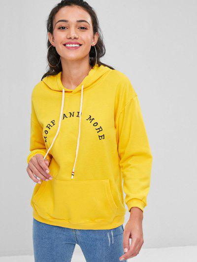 Letter Embroidered Kangaroo Pocket Hoodie - Rubber Ducky Yellow
