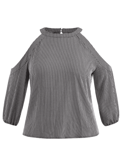 6a34358fb08cd ... Cold Shoulder Plus Size Striped Blouse - Black L