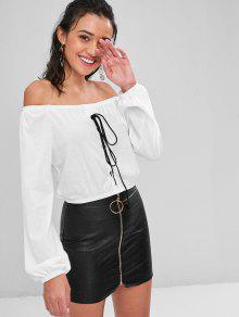 Hombros Blanco Camiseta Con S Descubiertos Cordones Sin pnWWCFt