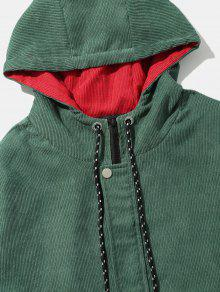 Escarabajo Verde Color 2xl Corduroy De Chaqueta Patchwork Capucha Block Con 8Rx8aS