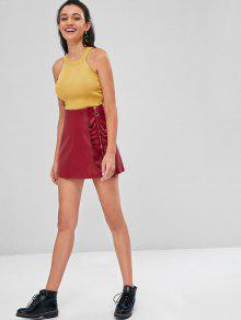 ce1204dd94f36 57% OFF  2019 Lace Up Side Knit Tank Top In YELLOW