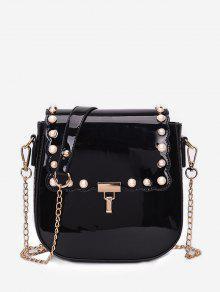 حقيبة بحمالة مزينة باللؤلؤ - أسود