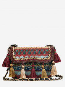خليط اللون كتلة الشرابة القبلية حقيبة كروسبودي - كستنائي أحمر