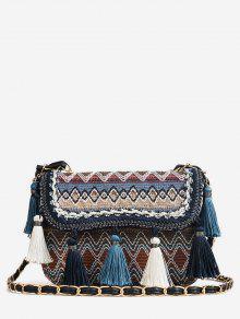 خليط اللون كتلة الشرابة القبلية حقيبة كروسبودي - أزرق