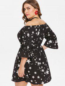 Estampado 2x De Con Estampado Vestido Estrellas Con Negro De Estrellas Ez6XEqH
