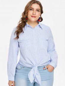 بالاضافة الى حجم قميص مقلم الشق تونك - جينز ازرق 3x