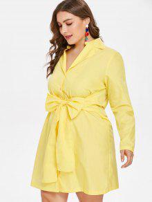 Vestido L Y Larga Manga De Lazo Con Pajarita Amarillo rqfrPnH