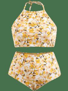 Talla Caucho L Grande Conjunto De Ducky Alto Bikini De Amarillo Corte Floral Y q0qfYz