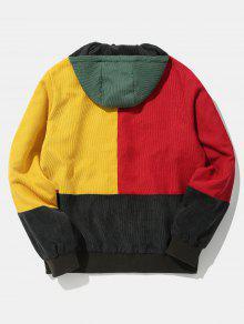 Capucha Color Pana Contraste Con Chaqueta Negro En De Parche De S Fq6Oxnw4B
