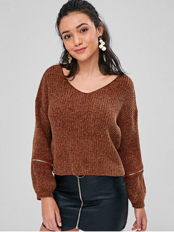 ladies Zipper Embellished Chunky Sweater - BROWN M