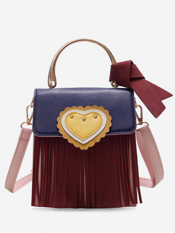 Sac à bandoulière de couleur contrastante avec franges et noeud en coeur - Rouge Vineux