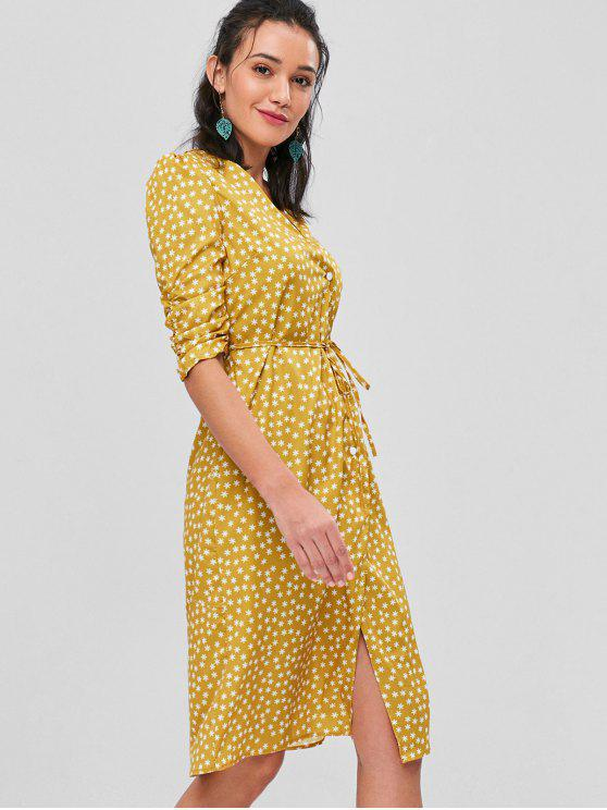 latest Bunched Sleeves Buttoned Midi Wrap Dress - MUSTARD M