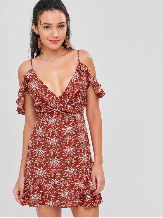 fashion Cold Shoulder Ruffle Floral Mini Dress - CRANBERRY M