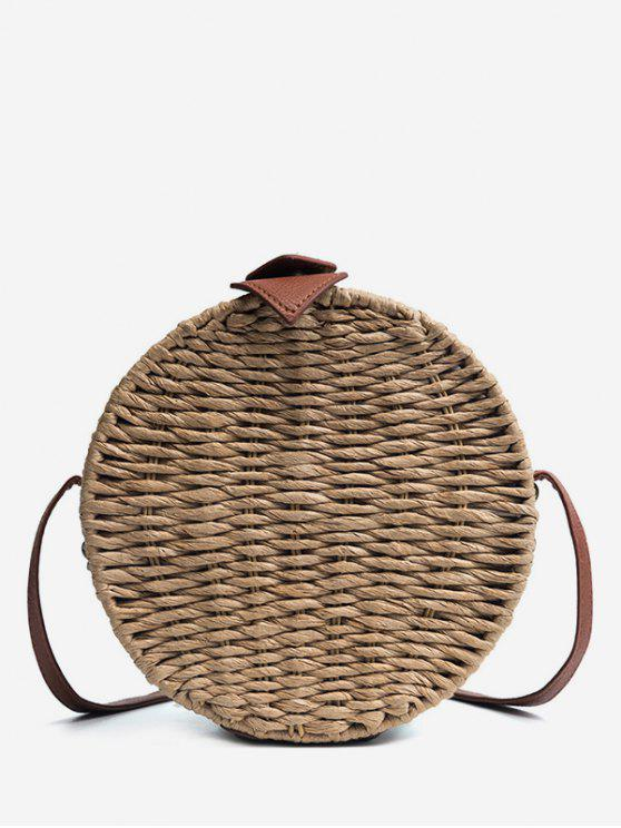outfits Vintage Straw Holiday Round Crossbody Bag - DARK KHAKI