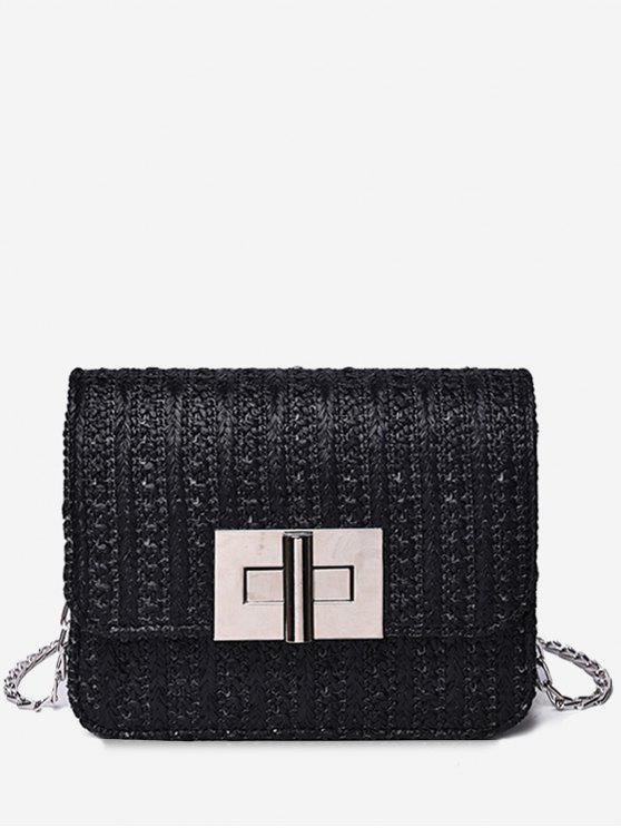 Corrente de metal Flap Chic Daily Crossbody Bag - Preto