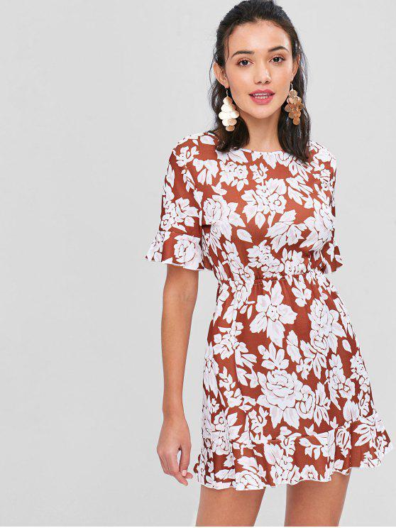 Mini vestido floral de espalda abierta - Multicolor S
