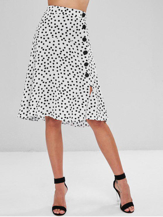 hot Buttoned Polka Dot Midi A Line Skirt - MULTI M