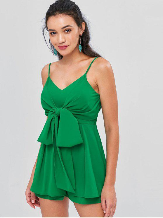 ladies Front Knot Zip Back Cami Romper - CLOVER GREEN L
