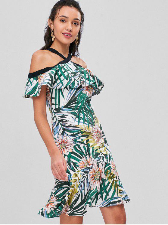 fashion Tropical Print Cold Shoulder Midi Dress - MULTI M