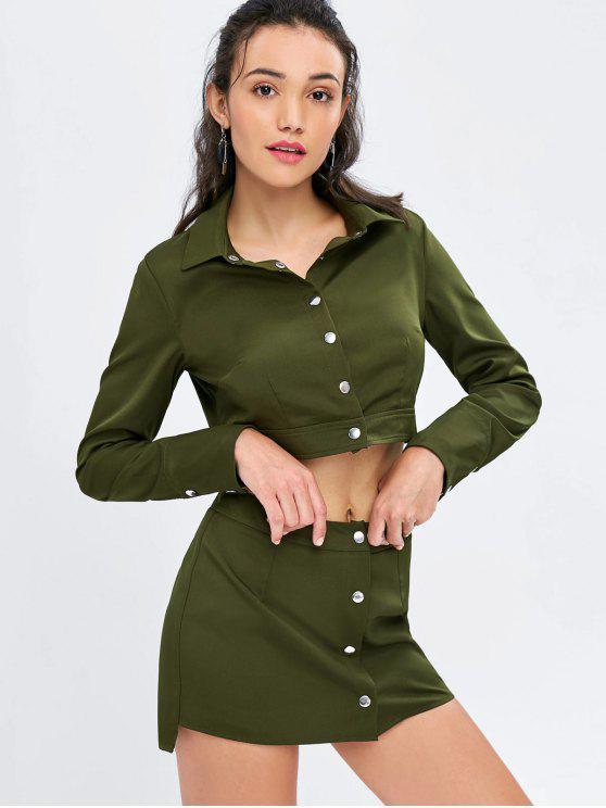 hot Button Up Crop Shirt and Skirt Set - ARMY GREEN S