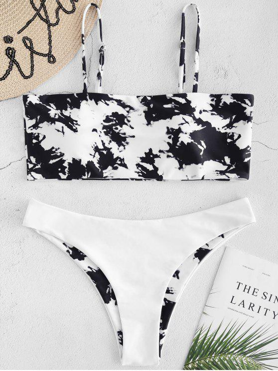 hot Tie Dye Print Bikini Set - BLACK M