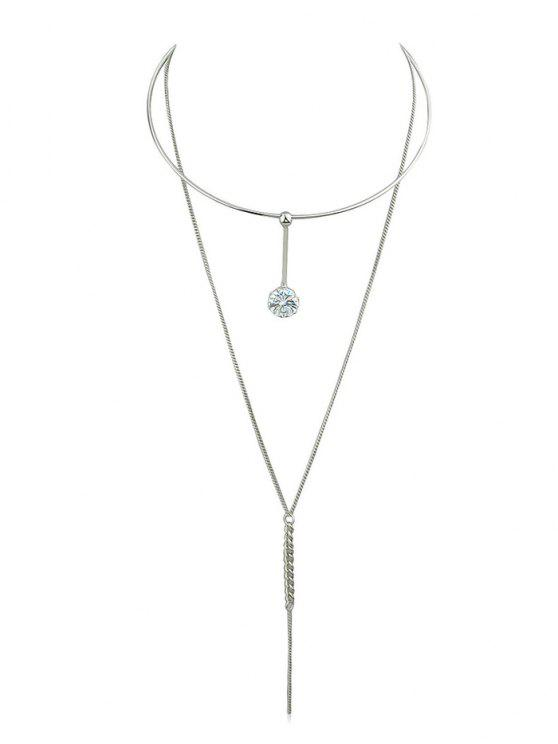 trendy Layer Rhinestone Chain Pendant Necklace - SILVER