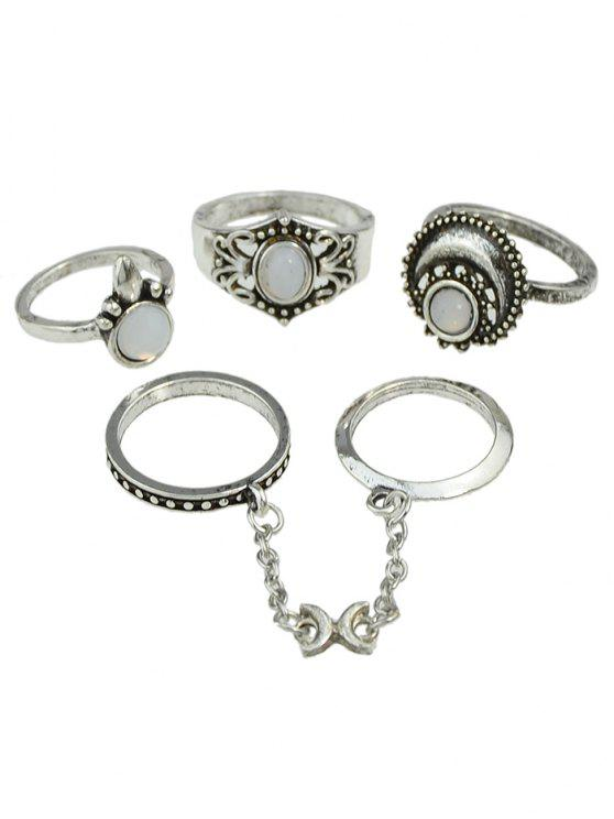 womens Retro Bohemian Artificial Gemstone Finger Rings Set - SILVER ONE-SIZE