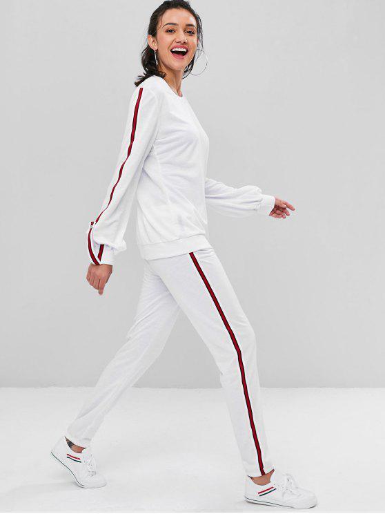 hot Contrast Striped Trim Sweat Suit - MILK WHITE XL