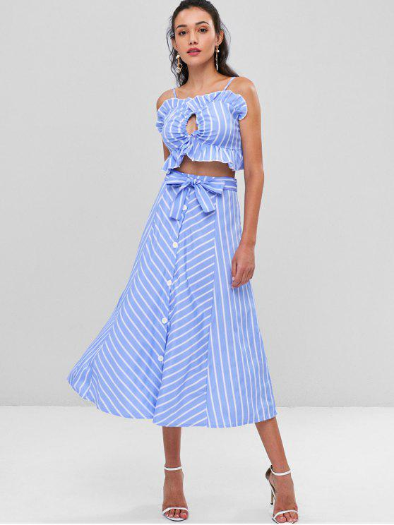 Conjunto de saia com cinto Cami listrado - Azul de Céu Claro S