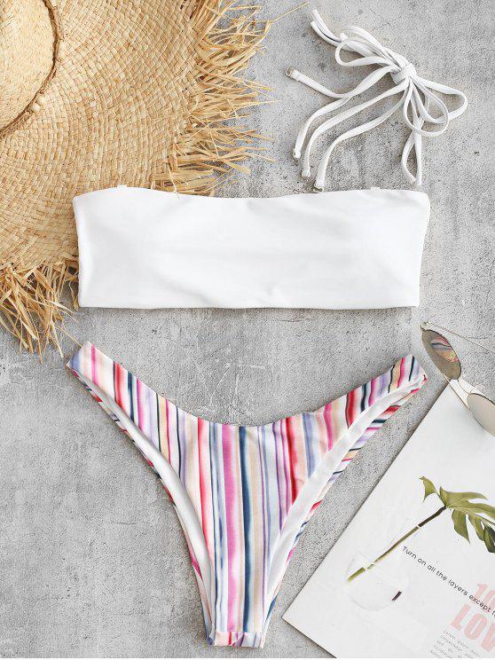 buy High Leg Colorful Striped Bikini Set - MULTI S