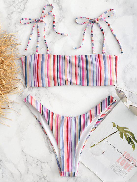 Buntes Gestreiftes Riemchen Schulter Bikini Set - Multi L