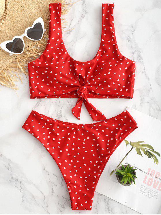 outfits Heart Keyhole Knot Bikini Set - FIRE ENGINE RED S
