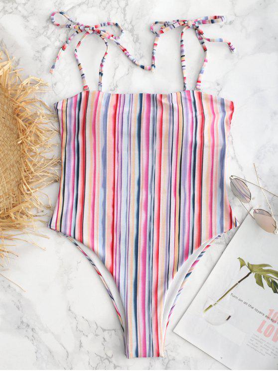 Costume Da Bagno A Righe Colorate Con Spalline Annodate - Multicolore L
