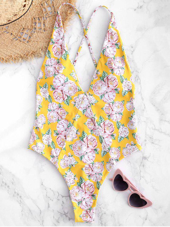 lady Floral Criss Cross Backless Swimsuit - RUBBER DUCKY YELLOW L