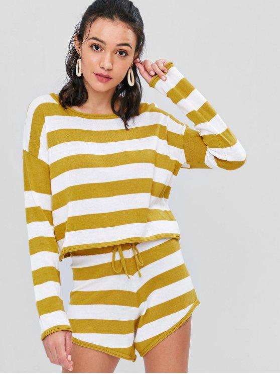 ladies Striped Sweater and Shorts Two Piece Set - MUSTARD M