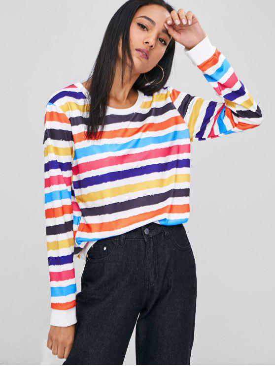 chic Colorful Stripes Sweatshirt - MULTI M