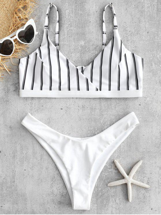 new High Cut Striped Bikini Set - WHITE L