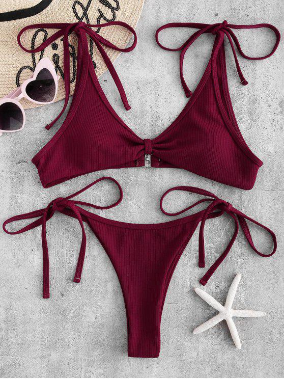 online Ribbed Tie Shoulder String Bikini Set - RED WINE S